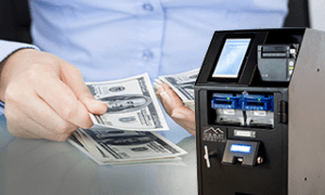 NationalLink Direct Vault - hand counting cash and smart safe machine