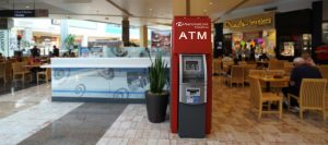 ATM machine with enclosure - placement in a shopping center photo