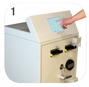 NationalLink Smart Safe Machine Intimus Perfodeposit - How Does It Work - Person Selecting Screen Photo