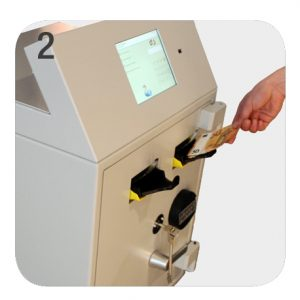 NationalLink Smart Safe Machine Intimus Perfodeposit - How Does It Work - Person Inserting Cash Photo